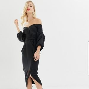 ASOS Off-Shoulder Black Midi Dress
